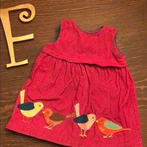 Baby Boden Corduroy pinafore bird appliqué dress